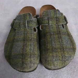 Birkenstock Birkis Green Plaid Clogs Slides Shoes